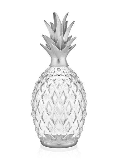 The Mia Dekor Cam Ananas - Gümüş Altın